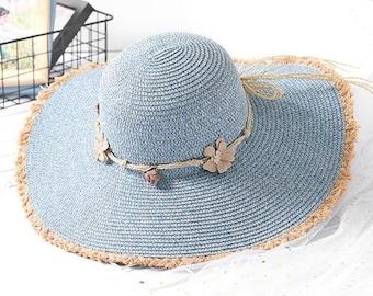 7d8bd41f919 New Straw Hat    Women Large Big Wide Brim Beach Hat    Ladies Raw Floppy  Sun Hat    Female Packable Flower Band Summer Hat