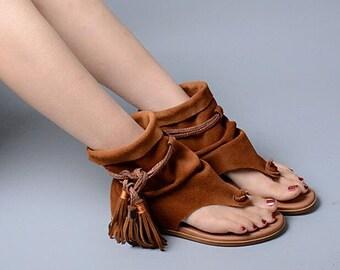 32c5bca2e Bohemia Lady Summer Sandals    Thong Slip On Tassel Fringe    High Quality  Suede Leather Boots    Sandal Femme Shoe