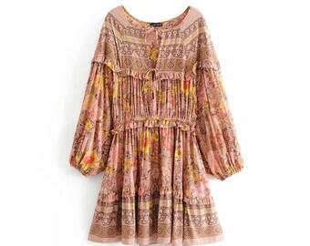 44362a3e8af6 Vintage Chic women Floral print lace up tassel // beach Bohemian mini dress  // Ladies V neck ruffles Summer Boho dress