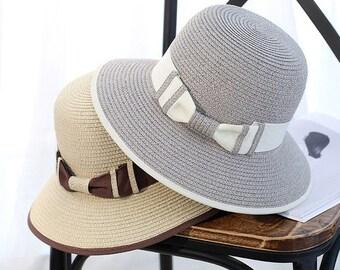 ecc0c0c0 Stylish Fashion Women Foldable Wide Large Brim Beach Sun Caps // Floppy Straw  Hat Sweet Butterfly Summer Tour Hats for Women