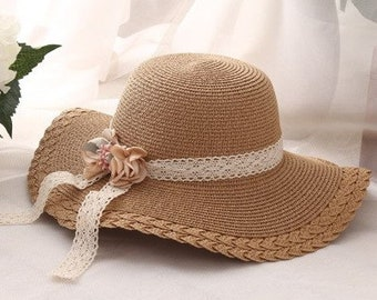30bc66c300c99c Fashion child Girls Wide Large Brim Floppy Summer Beach Sun Straw Hat // Cap  with flower Lace Free Shipping