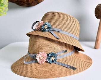 35f39c92bd364 New Two Roses Children Sun Hat    Spring Summer Sunscreen Women And Girl Straw  Hat    Parent-child Caps 5 Colors