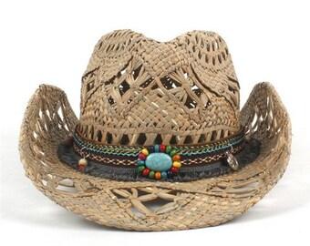 2c46fea9 100% Natural Straw Cowboy Hat // Women Men Handmade Weave Cowboy Hats For  Lady // Tassel Summer Western Sombrero Hombre Lifeguard Hats