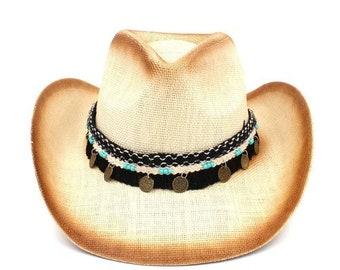 3d389b76312ec Fashion Women Men Straw    Western Cowboy Hat With Western Band For Elegant  Lady    Sombrero Hombre Cowgirl    Jazz Caps Size 58CM