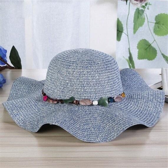 89f905eec Vogue Women's Summer Cap Beach Hat // Big Wide Brim Straw Hats // Sun Visor  Ladies Colorful Stone // Boho Hats Panama Chapeau De Paille