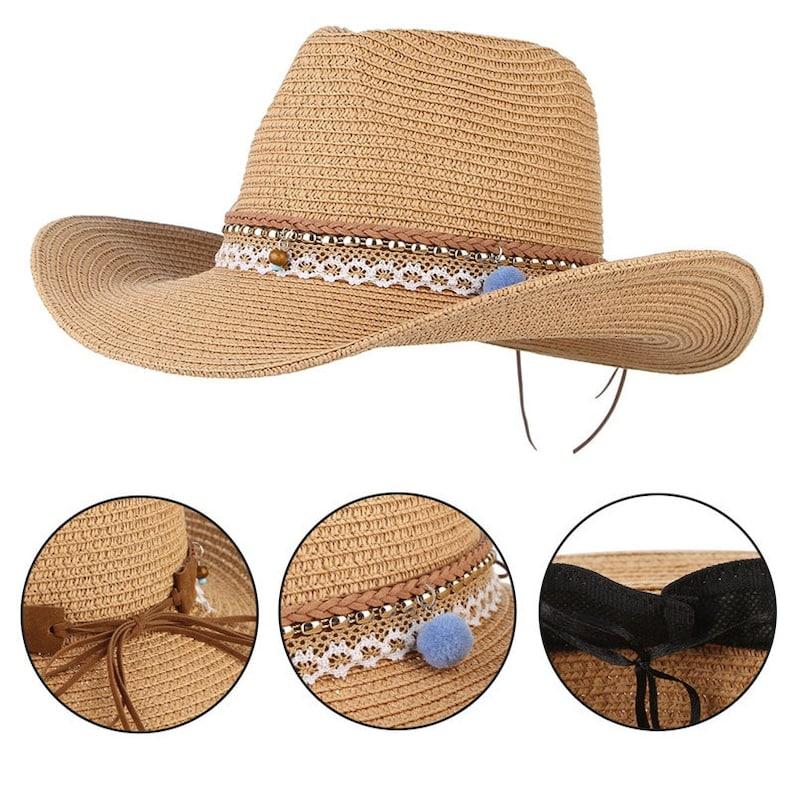Vintage Boho Summer Hats For Women  Wide Brim Straw Hat Western Cowboy Cowgirl  Jazz Hat Men Beach Visor  Sun Cap Adjustable