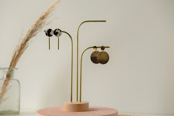 Anea 3 stems Professional jewelry support Wood and brass