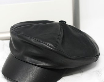 Faux Leather Newsboy Cap Fiddler hat Adult- Premium Quality cac687ee7309