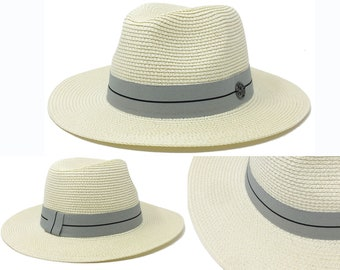 953390f5031 Paper Straw Wide Brim Fedora Beach Hat Woman