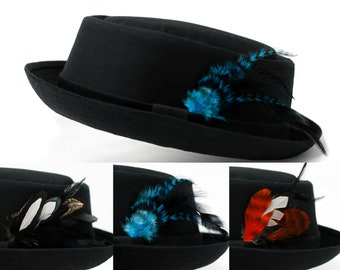 bbe9792ddad Black Cotton Pork Pie Hat with Detachable Feather  FREE Hat Size Reducer