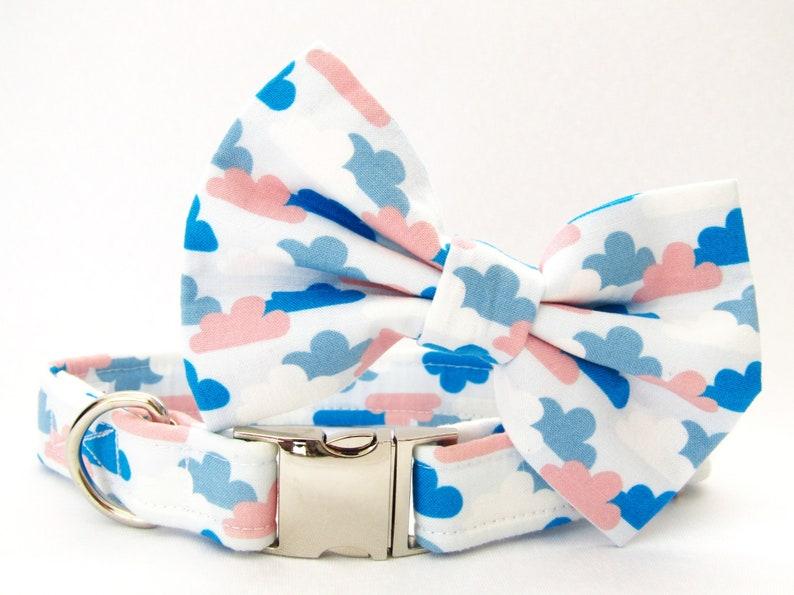White Grey Blue Cloud Cloud Dog Collar Handmade Adjustable Fabric Pet Collar Leash And Bow Tie Set Lead /& Bow Bowtie