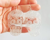 Sugar skulls love earrings, Mexico jewelry, clear laser cut earrings, traditional girlfriend gift