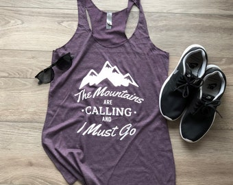 3ebecf69ee8162 The Mountains Are Calling Ladies Flowy Racerback Tank - Ladies Summer Vibes  Tank - Women s Outdoors Nature Tank - Beautiful and Comfortable!