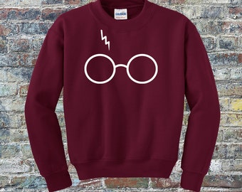 4bc74bffb14 HP Wizard Glasses Sweater - Heather Colors Available! - Wizard Glasses  w Scar Sweatshirt - All Colors - Youth and Adult Sizes - Fun Fan Wear