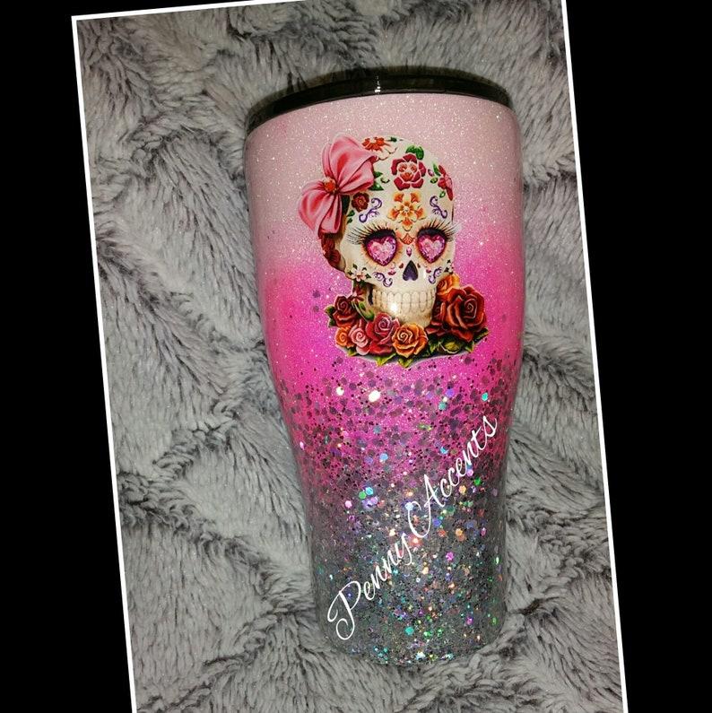 Sugar Skull Custom Glitter Tumbler image 0