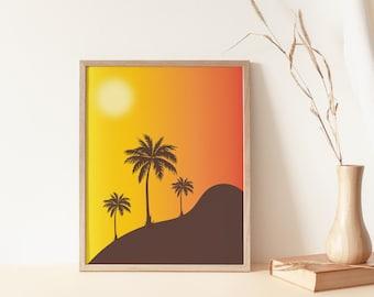 Retro Vibrant orange Palm Plant 70/'s vintage inspired Orange wall art Print