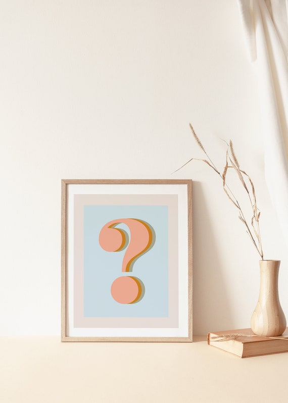 graphic about Printable Question Mark named Speculate Mark Print,Printable Wall Artwork,Downloadable Artwork,Electronic Print,Geometric Artwork,Printable Artwork,Pastel Artwork,Rust and Blue