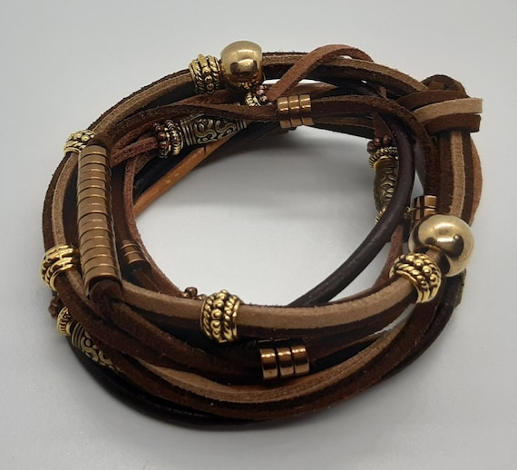 Men Brown Wraparound Leather Bracelet | Multi Layered Leather Wristband | Brown and Gold Trim Men Wristband | Unique Suede Wristband