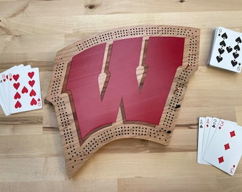 "University of Wisconsin ""Motion W"" Cribbage Board"