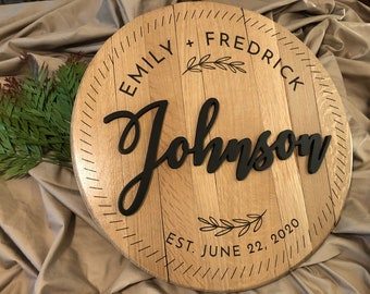 Personalized, Engraved Bourbon Barrel Cap / Sign - Wedding gift, Bridal Shower gift, Housewarming gift, Family Crest