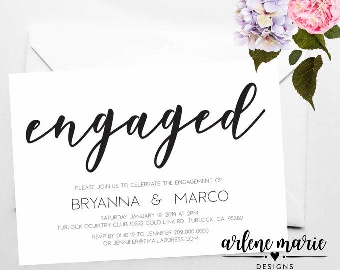 Engaged Invitation Card Digital Print