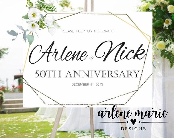 Elegant Help Us Celebrate Anniversary Event Sign | Digital Print Bundle, Anniversary Sign, Wedding Sign,Event Sign