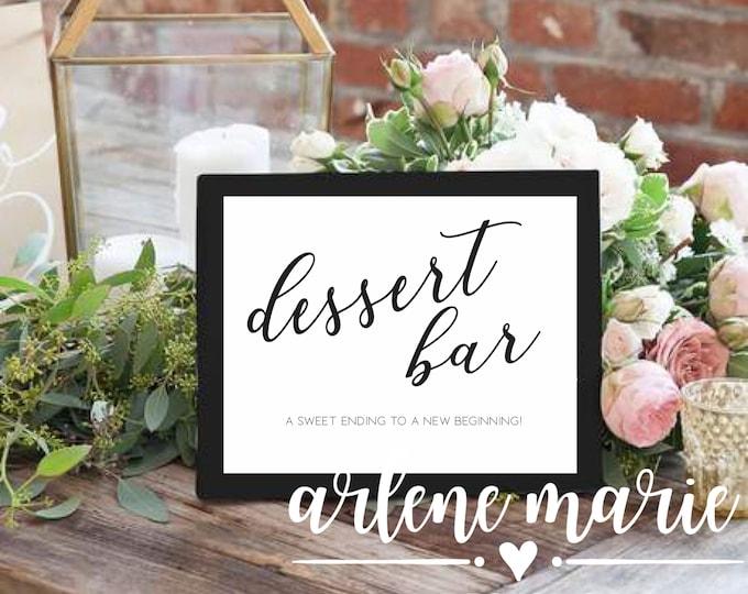 Dessert Bar Printable Sign | Instant Download Bundle in Two Sizes, Bar Sign, Wedding Sign, Event Sign