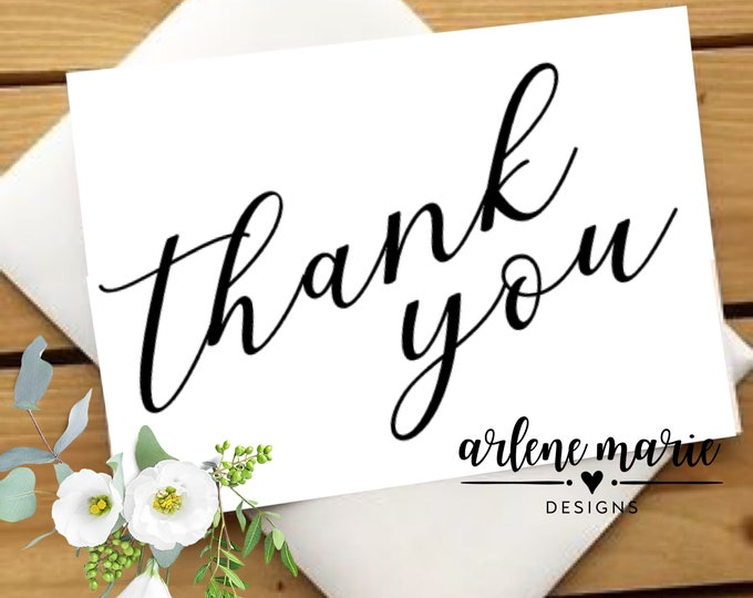 Classic Thank You Note Cards Trio Instant Download | Thank You Card, Wedding Stationery, Note Cards, Printable Thank You Card