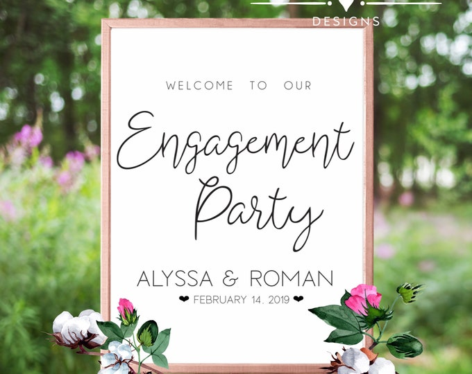 Welome To Our Engagement Party Event Sign Digital Print Bundle
