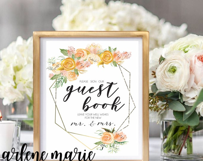 Gorgeous Guest Book Sign | Instant Download Bundle in Golds, Wedding Sign, Event Sign