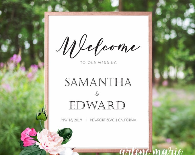 Classic Welome To Our Wedding Event Sign Digital Print Bundle | Wedding Sign, Welcome Sign, Event Sign