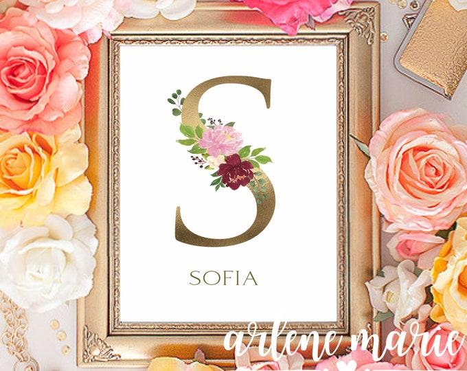 Personalized Gold Foil Floral Alphabet Monogram Digital Print