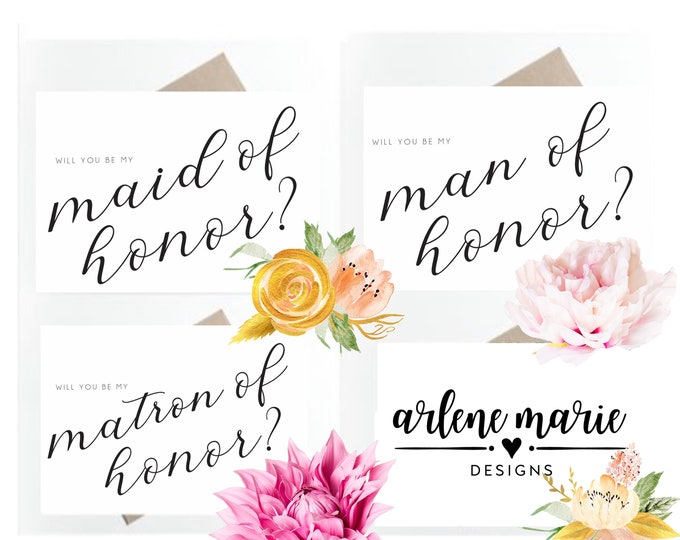 Classic Will You Be My Bridal Party Proposal Cards | Instant Download Bundle, Maid of Honor, Bridesmaid, Flower Girl, Bridal Party