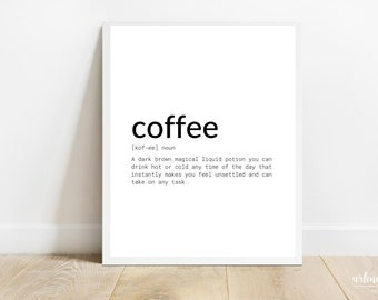 Coffee Definition Printable Wall Art   Coffee Funny Definitions   Typography Printable Wall Art   Coffee Definitions Instant Download Art