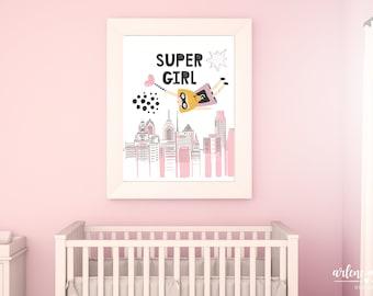 Super Girl Printable Wall Art   Girl Power Art Poster    Girl Super Hero Art Print   Girls Room Super Hero   Superhero Wall Decor
