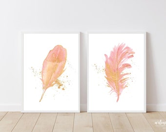Blush Gold Watercolor Feathers Printable Wall Art   Living Room Decor   Home Decor Wall Art   Pink Feathers Art   Feathers Wall Art