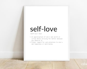 Self Love Definition Printable Wall Art    Self Love Quote Motivational Wall Art   Self Love Definitions Instant Download Poster  Typography