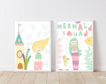Mermaid Squad Printable Wall Art   Mermaid Nursery Art    Mermaid Baby Decor   Girls Room Wall Art   Mermaid Sea Animals Wall Art