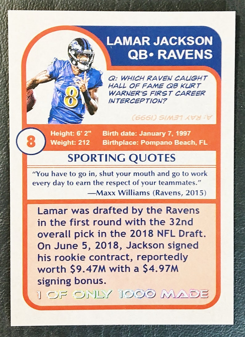Mint Condition 2018 Lamar Jackson Prism Style Custom Star Rookie Card Baltimore Ravens