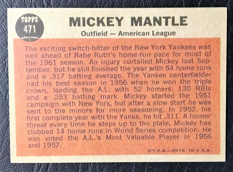 Mint Condition New York Yankees 1962 Topps #471 Mickey Mantle The Sporting News All-Star Reprint