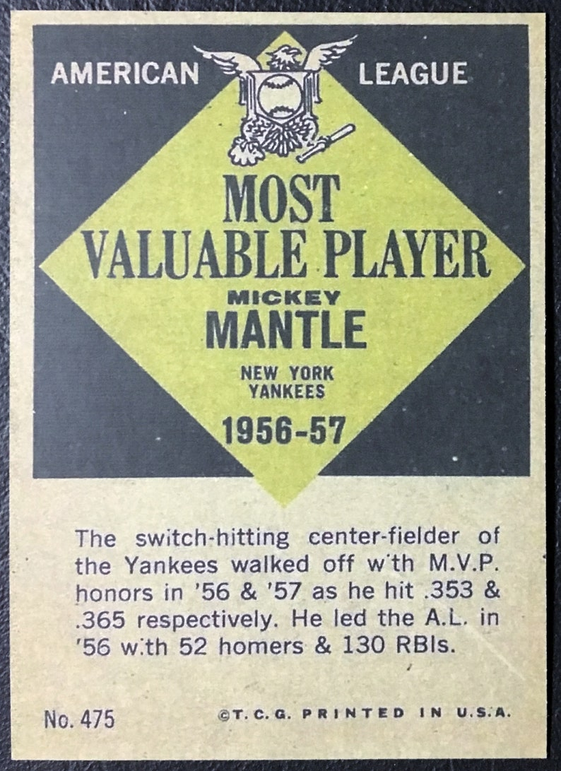 Mint Condition New York Yankees 1961 Topps #475 Mickey Mantle MVP Reprint