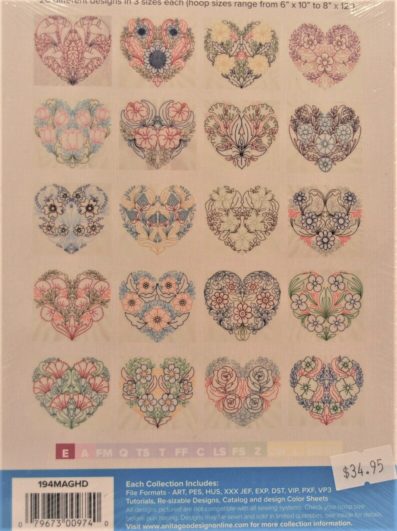 Anita Goodesign Floral Hearts Mini Collection New CD Machine Embroidery