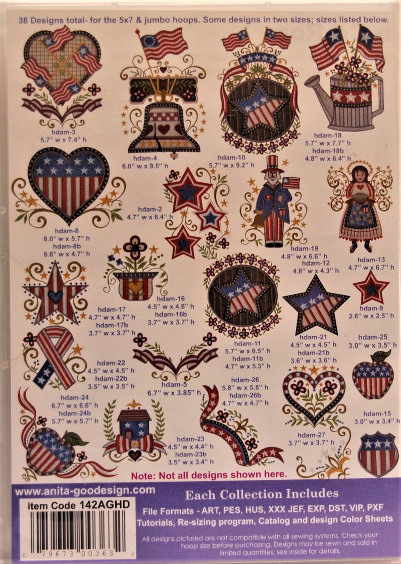 CD Machine Embroidery Full Collection New Anita Goodesign CD Used Americana