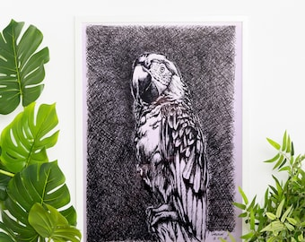 Black and White Fine Art Greeting Bird Lover Gift Handmade Pen and Ink Drawing Cockatoo Card Minimalist Parrot