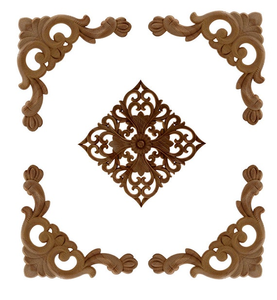307cm VERBAY New 1pcs Rubber Wood Carved Corner Onlay Applique Furniture Home Decor