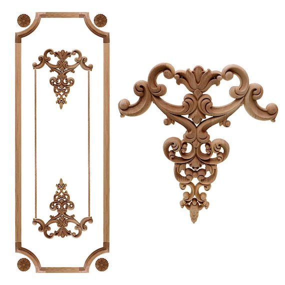 Figurines Wood Carved Decal Corner Floral Onlay Home Applique Decoration Craft