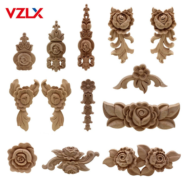 New Flower Wood Carving Natural, Decorative Appliques For Furniture Nz