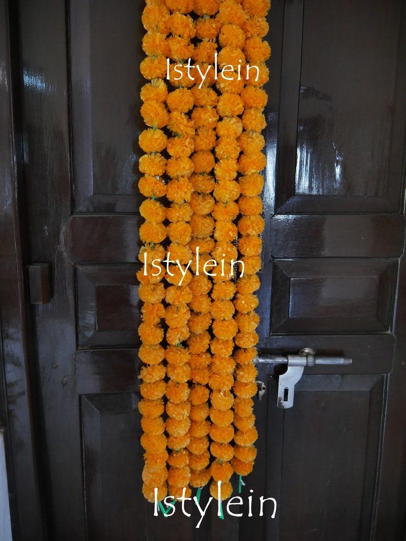 Indian event Free express shipping 9 feet Artificial mango orange marigold garland 9 feet off white tuberose garland for wedding decoration