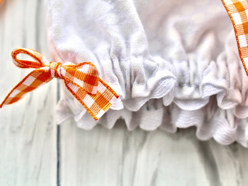 Reversible Bonnet and Bloomer Set in Orange and White