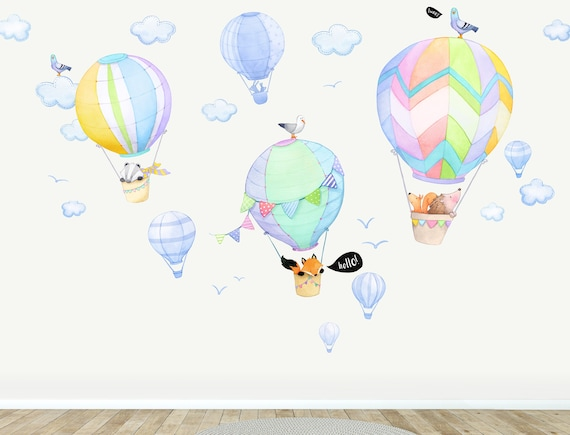 Animal Wall Stickers Hedgehog Hot Air Balloon Toddler Watercolour Room Decor Fabric Wall Decal